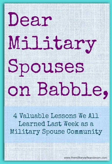 Dear Military Spouses on Babble