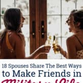 two military spouse friends drinking a beer and laughing