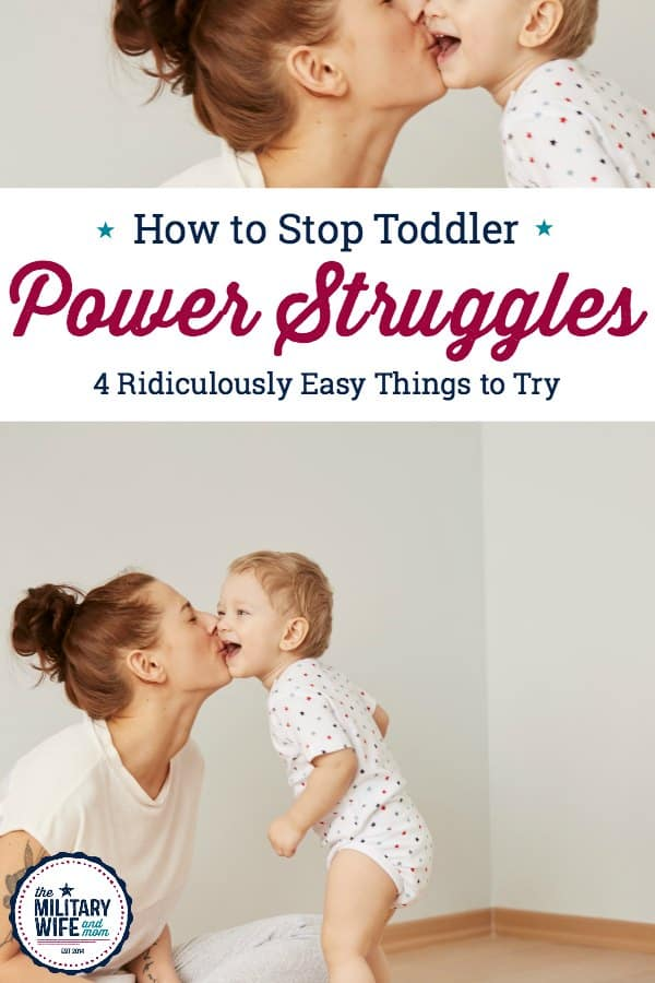 Discover how to end toddler power struggles once and for all! These are four simple positive parenting strategies for toddlers. Ending power struggles starts today! #powerstruggles #parentingtoddlers #respectfulkids #kindkids #getkidstolisten