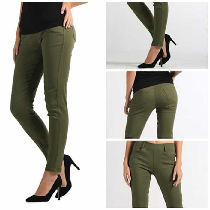 Love these olive denim pants to wear as a military homecoming outfit. Perfect casual chic for military spouses.