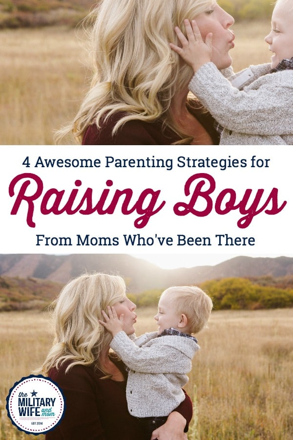 Check out these four awesome parenting strategies for parenting toddler boys or raising boys right. #parentingboys #boymom #motherofboys #positiveparenting #raisingboystobemen #strongboys #caringboys