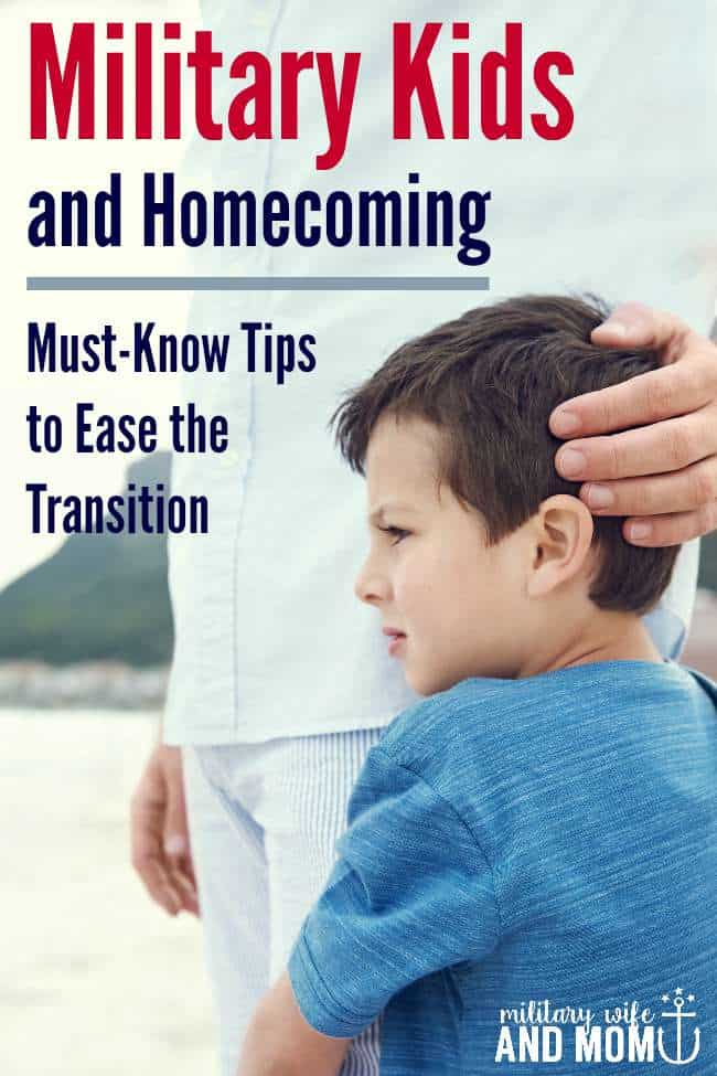 Free printable for common behavior in military kids after homecoming. Plus, how to help kids cope and transition.