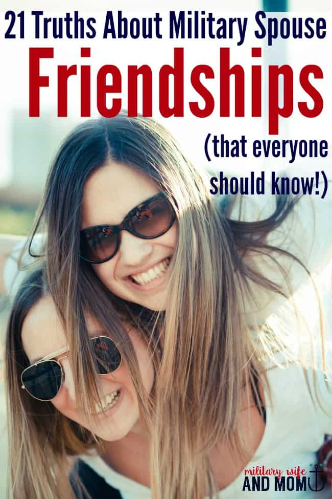 Only a military spouse would understand these 21 truths about long distance friendships. I loved this post! Plus it supports a great cause...United Rentals Turns for Troops. Sponsored.