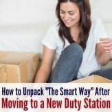 15+ tips for unpacking after a PCS move. Great moving tips for military families.