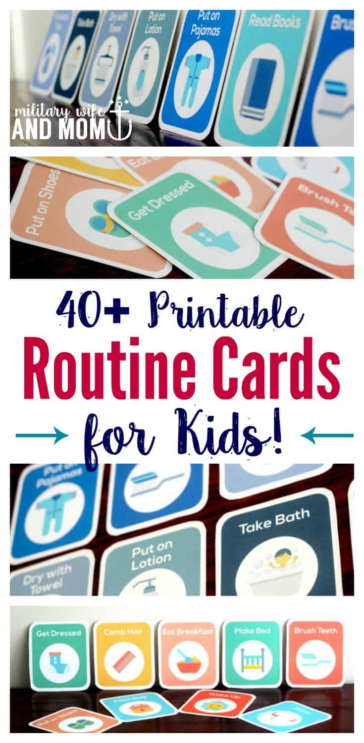 Awesome! Printable routine cards for kids. Great if you're looking for a visual schedule to use as a toddler routine or preschooler routine chart. Perfect for stay home moms who enjoy a peaceful schedule.