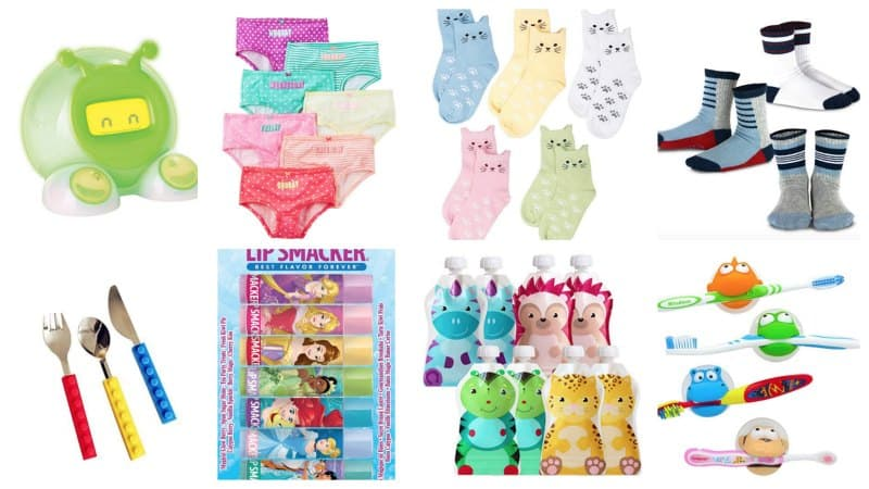 Collage of toddler stocking stuffers like underwear, socks, lip balm, toddler utensils