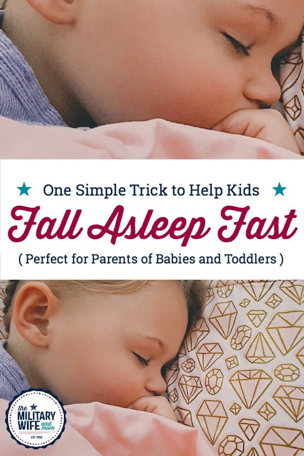 One simple trick to help kids fall asleep fast. This works great with babies and toddlers and even preschoolers. #babywontsleep #fallasleepfast #toddlerwontsleep #calmbedtime #peacefulbedtimewithkids
