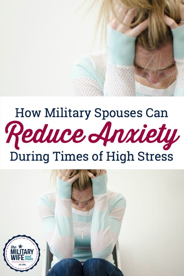Are you a military spouse with anxiety? Learn tips from a family therapist on how to reduce anxiety as a military spouse. Keep this handy before deployment or other big military life changes. #militaryfamily #militaryspouse #militarywife #anxiety #predeployment #homecoming #pcsmove