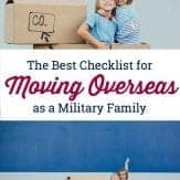 This is the BEST moving overseas checklist for military families that I've found. If you're planning an OCONUS move, grab this overseas moving checklist. #movingoverseaschecklist #militarymove #movingchecklistformilitary #oconusmilitarymove #pcsmoveoverseas