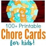 Printable chore cards for kids to teach responsibility, independence and hard work. The perfect alternative to chore charts and behavior reward charts.