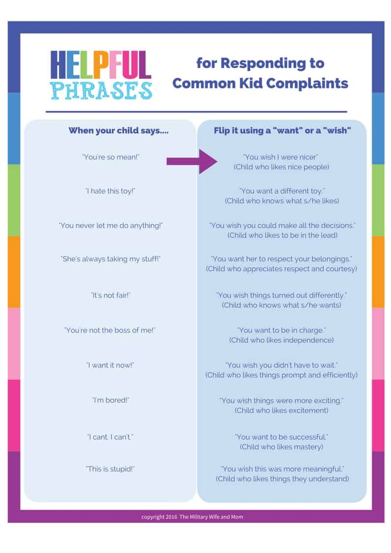 How to respond to your complaining child. How to stop whining.