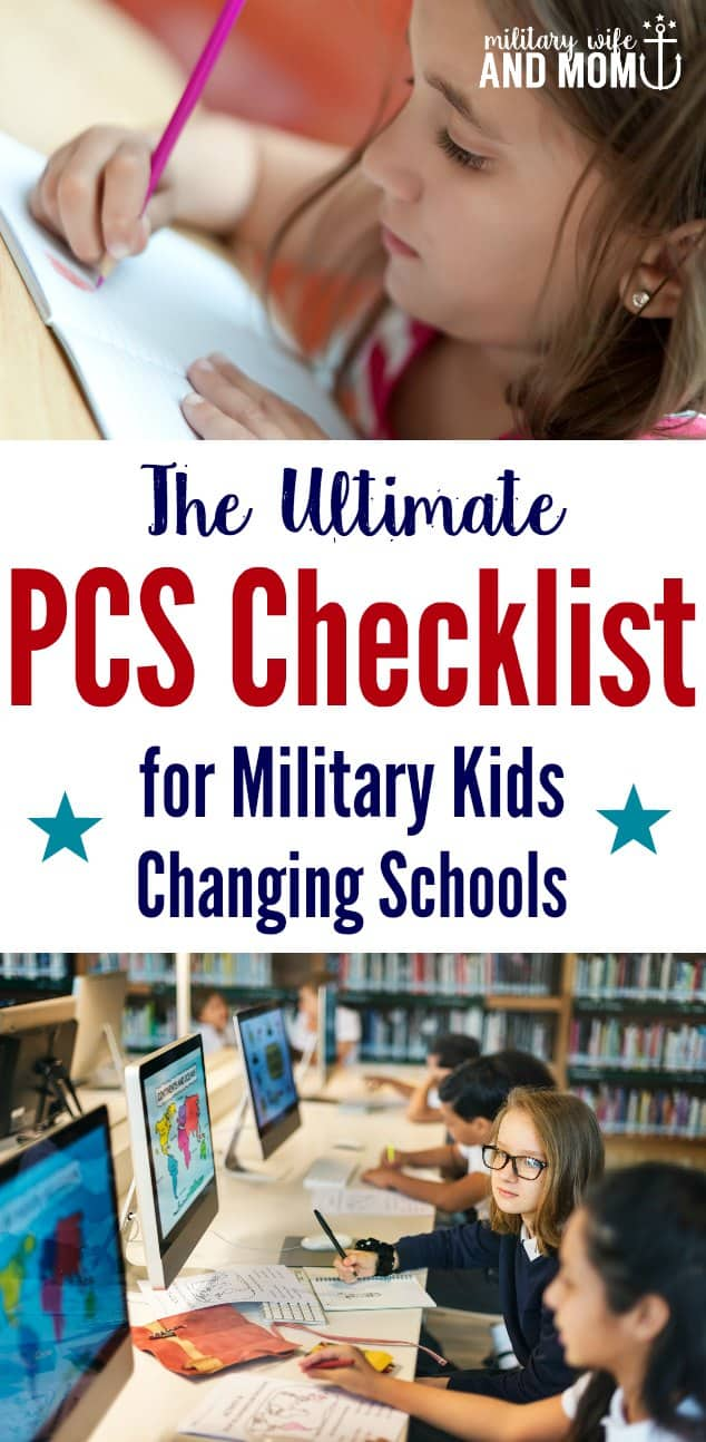 Grab a free printable PCS checklist for changing schools with military kids. Learn step-by-step what military families need to know before moving kids to a new school.