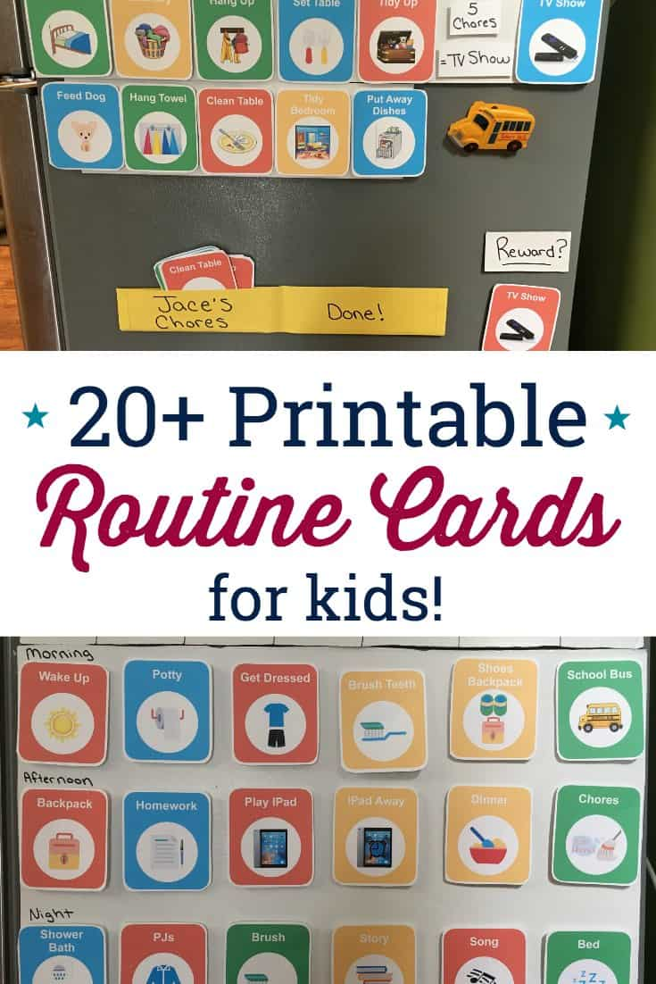 These routine cards for kids are so useful! LOVED the editable template that comes with this printable routine. #visualscheduleforkids #visualroutine #routinecards #visualroutineautism