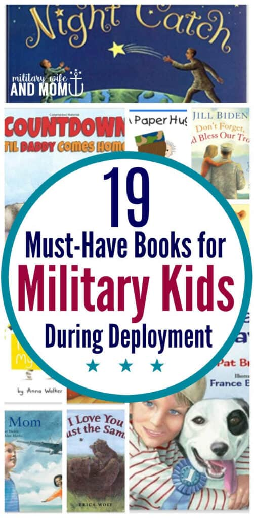Collage of 19 books for military kids during deployment