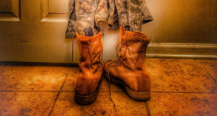 This is what happens when a service member forgets his boots. #militarylife #militaryspouse #militarywife