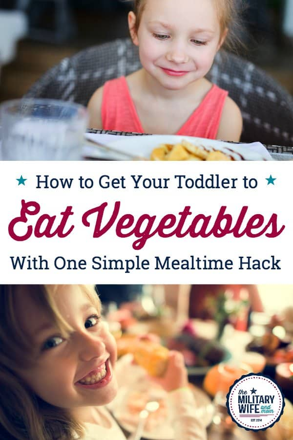 This mealtime hack is so simple, but works! If you're wondering how to get a toddler to eat vegetables, try this first before stressing over family dinners. Perfect for when your toddler won't eat. #kidswonteat #toddlerwonteat #healthyfoodforpickyeaters #pickyeatertoddler #kidseating #vegetablesfortoddlers #familymealhacks #momtricks #mealtimeroutine #healthykids