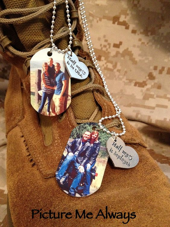 Deployment and Gift - dog tags with family pictures on them.