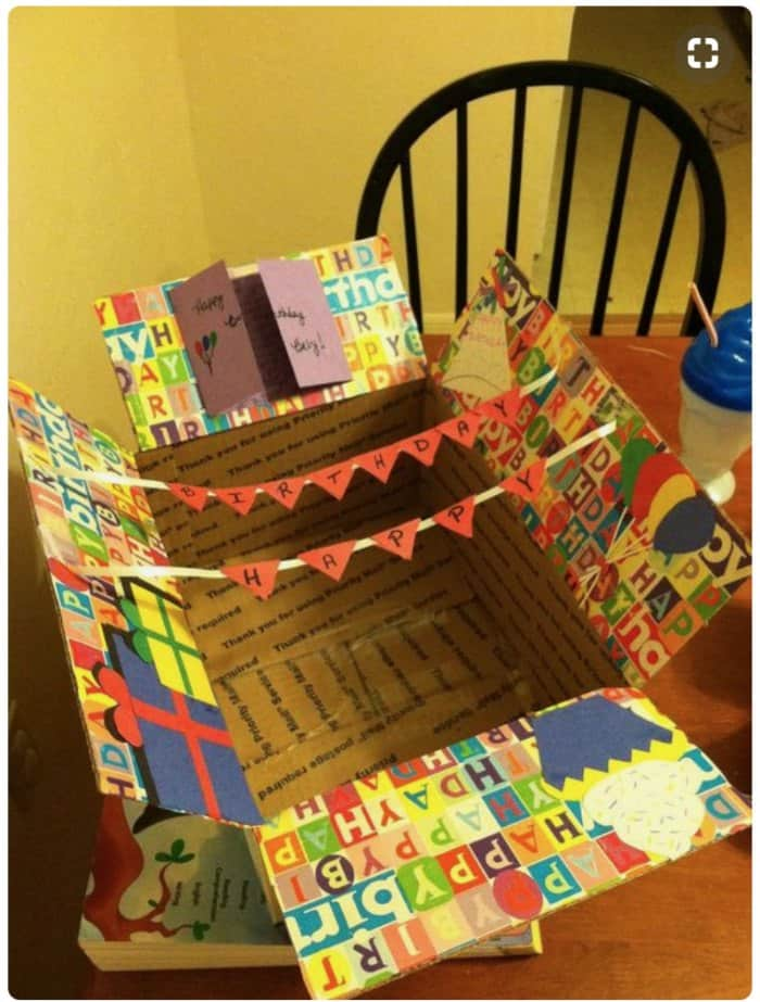 happy birthday care package idea with bunting