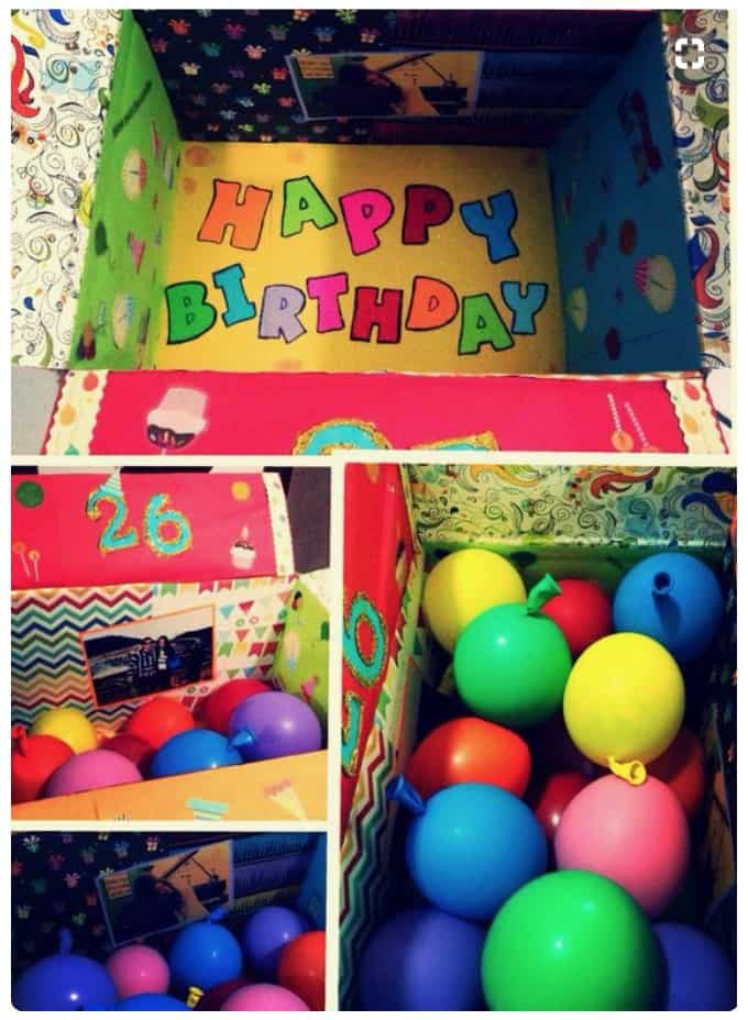 Happy Birthday care package idea with balloons