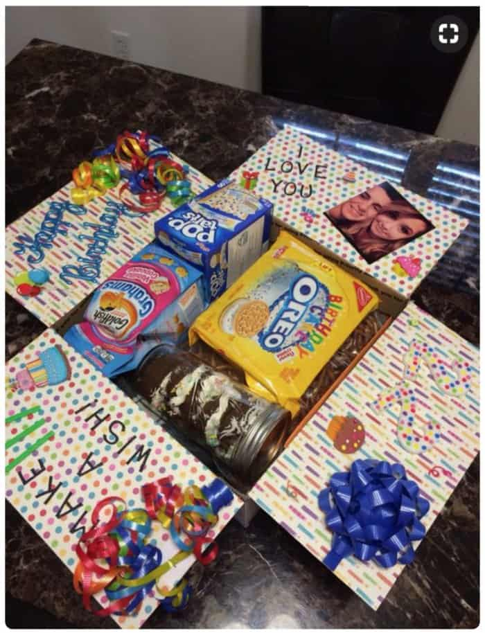 """Make a wish"" birthday care package ideas."