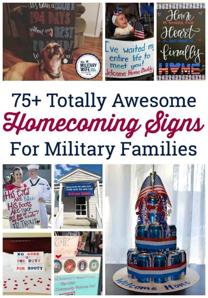 Looking for some fresh ideas for military homecoming signs and banner ideas? Check out these 75+ ideas from sayings to images to help you find the perfect homecoming sign after deployment. #welcomehomesign #militaryhomecomingsign #militaryhomecoming #welcomehomebanner #homecomingideasformilitary