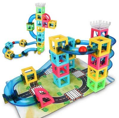 Fun open ended magnetic marble run toy for kids
