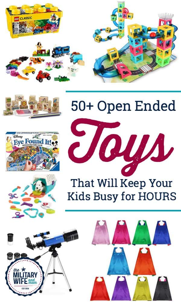 Inspire your child's imagination and creativity with these open ended toys that last for years! Open ended toys encourage problem-solving, self-regulation, creativity and more. #openendedplay #openendedtoys #creativetoys #imaginationtoys
