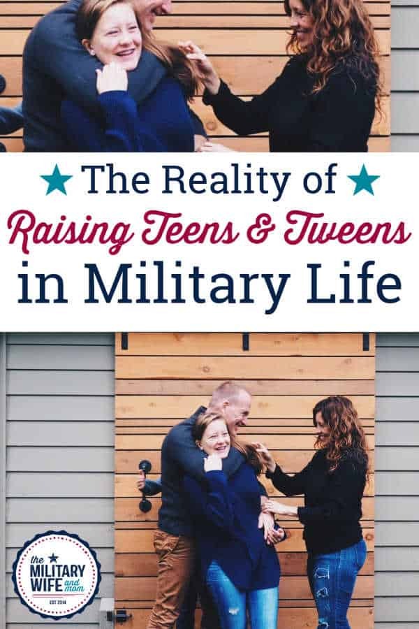 Military service member and spouse raising a teen daughter standing next to a house.