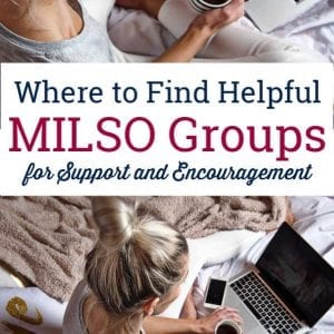 Woman on computer searching for helpful MILSO groups online or military significant other groups online
