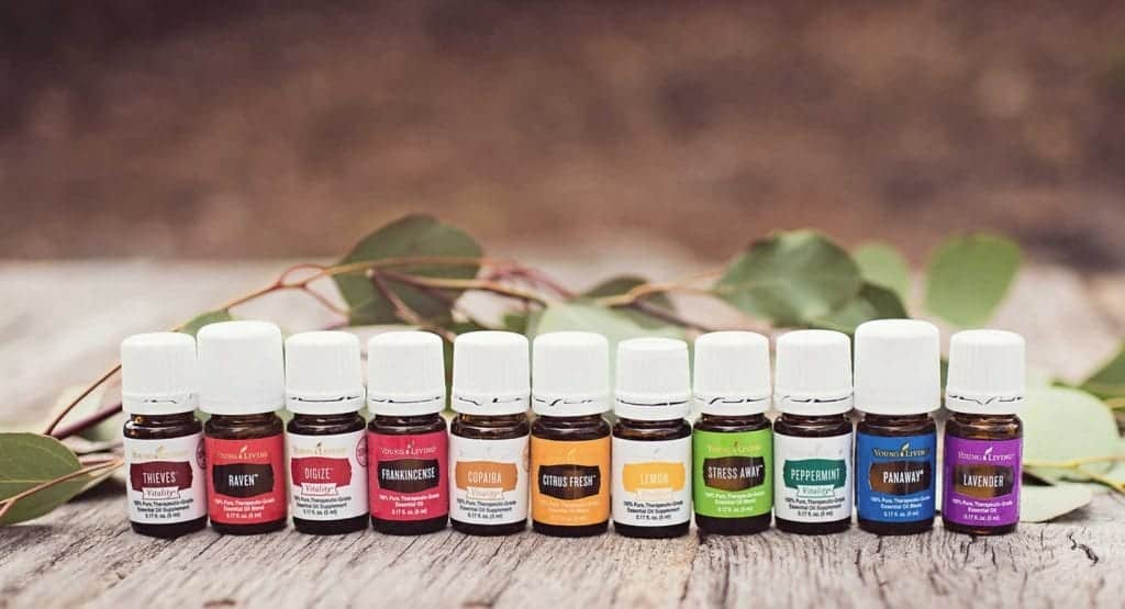 A close up of a young living essential oil bottles.