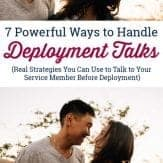 couple smiling and looking at each other during deployment talk