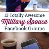 Military spouse looking at facebook groups on her phone for support.