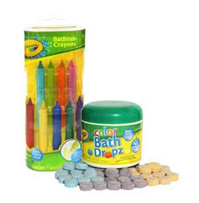 crayola crayons and bath drops for water