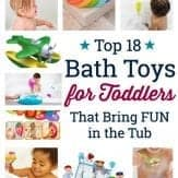 collage of kids playing with bath toys