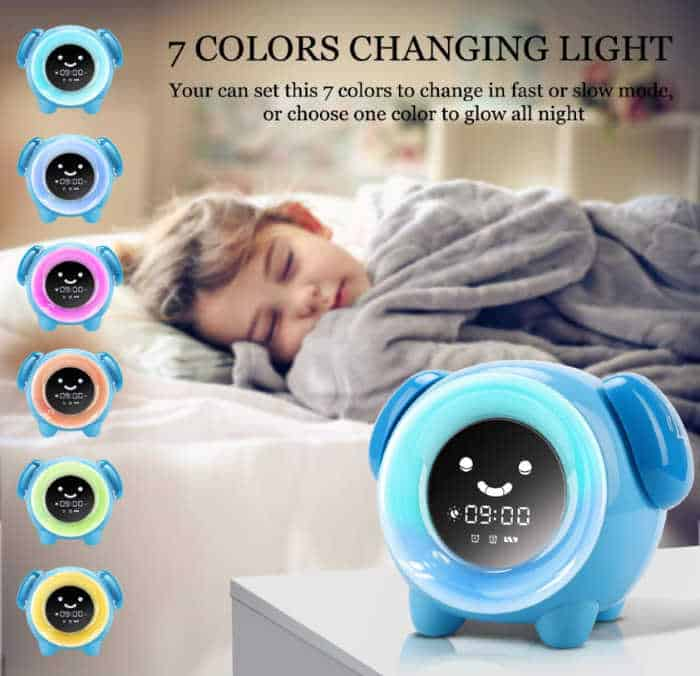 toddler sleeping in bed and showing toddler alarm clocks in various light settings.