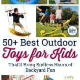 Collage of best outdoor toys for kids.