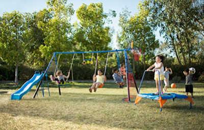 8 piece sport station swing set for kids outside