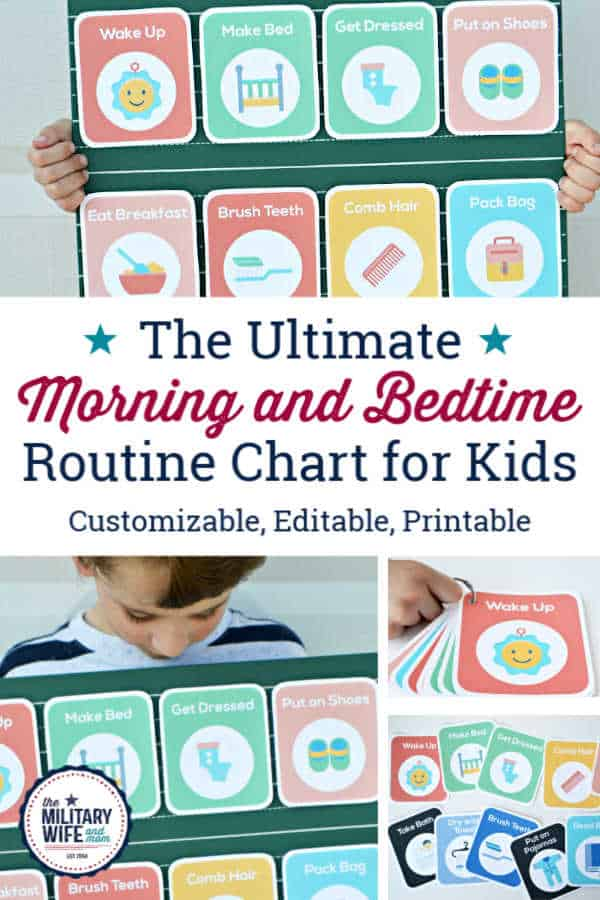 customizable bedtime routine chart for kids. includes morning routine chart and chore routine chart.