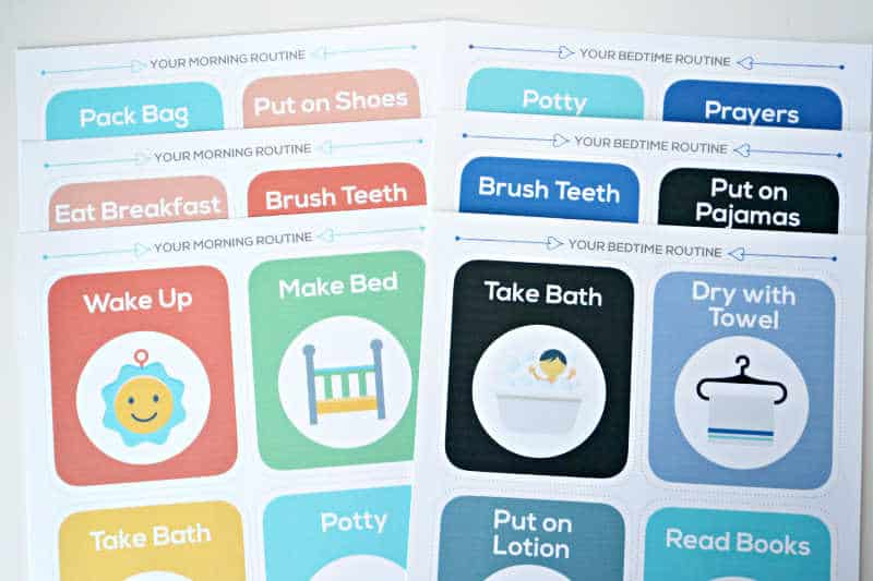sheets of daily routine cards for kids printed on 8x10 paper