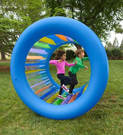 Inflatable rolling wheel for kids to play with in the yard.