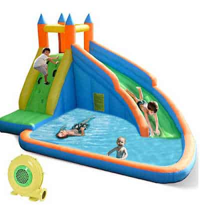 Inflatable bounce house with water slide, pool and climbing wall.