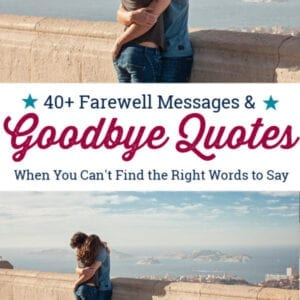 Woman with suitcase saying goodbye to significant other and hugging.