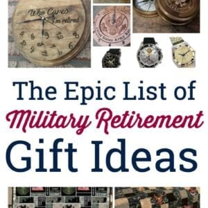 Collage of military retirement gifts