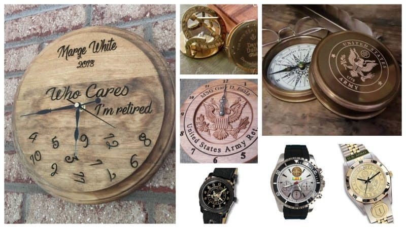 Collage of personalized clocks, compasses and watches for military.