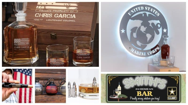 Collage of bar gifts for military service members.