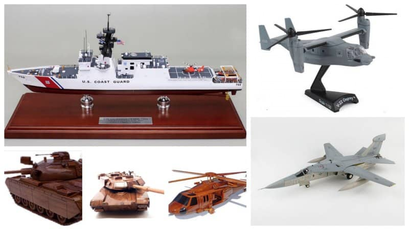 Detailed gift models of military ships, aircraft and land vessels.