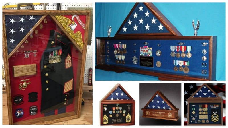 Collage of shadow boxes made for retiring military service members.