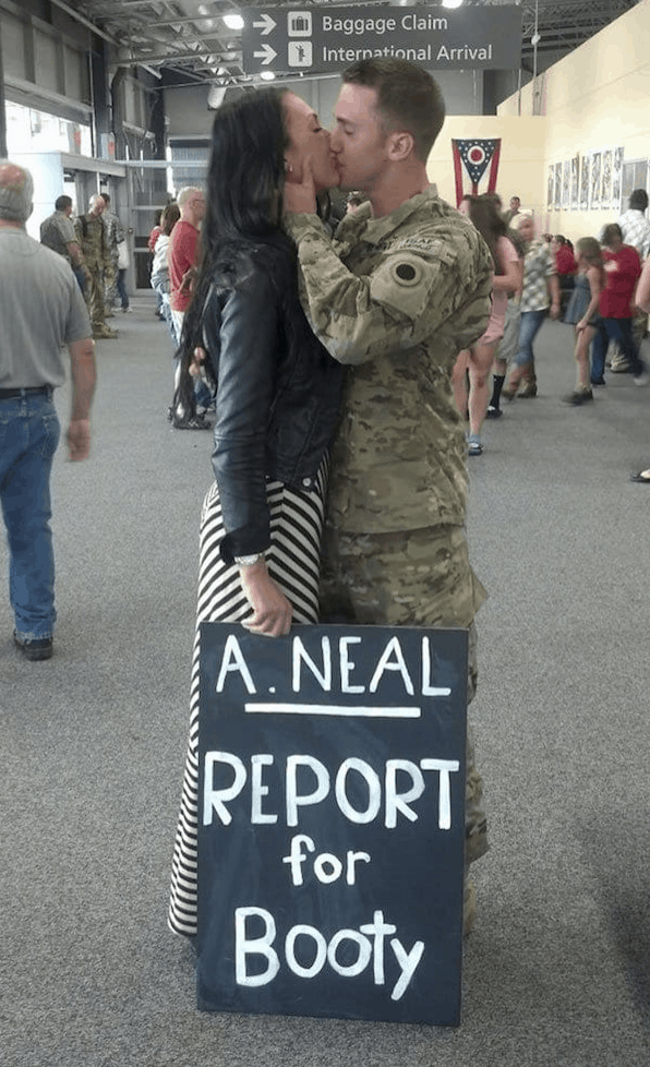 """report for booty"" military welcome home sign"