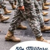 Military service members marching and text overlay that says 50+ military quotes