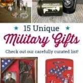 "collage of unique military gifts with text read: ""15 unique military gifts. check out our carefully curated list."""